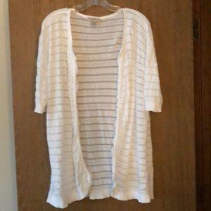 EUC XL Loft white fringe short sleeve cardigan